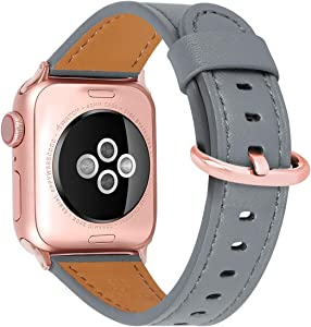 Compatible for apple Watch Band 38mm 40mm, Top Grain Leather Band Replacement Strap iWatch Series 6/5,Series 4,Series 3,Series 2,Series 1,Sport, Edition (dark grey band+rose gold, 38mm40mm)