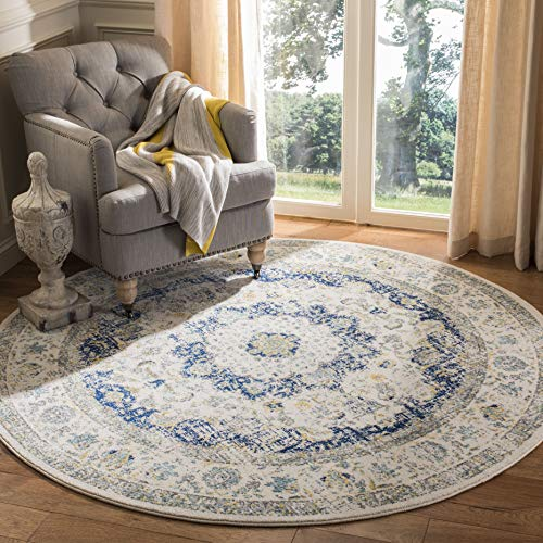 Safavieh Evoke Collection EVK220C Vintage Oriental Ivory and Blue Round Area Rug (3' in Diameter) (Rugs 3 Round)