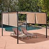 Great Deal Furniture Wendy Outdoor Steel Framed 10′ by 10′ Gazebo, Beige For Sale