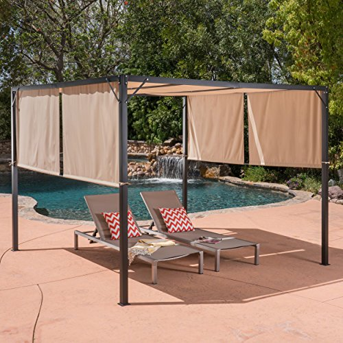 Christopher Knight Home 304392 Wendy Outdoor Steel Framed 10' Gazebo, Beige/Black