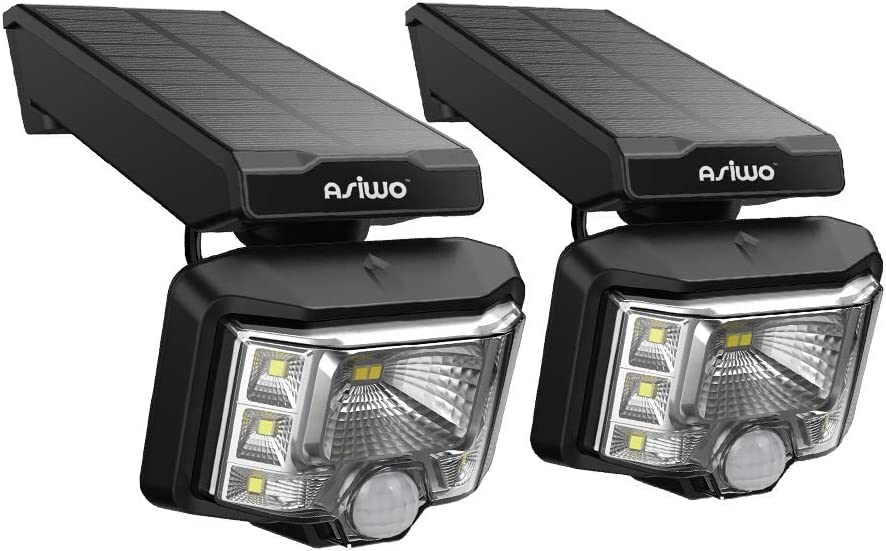 Asiwo Super Bright 8 LED Outdoor Wireless Spot dynami, Motion Sensor, Wall Security Lighting-IP65 Waterproof Solar Light for Garden, Yard, Garage, Driveway, 2 Pack, Black
