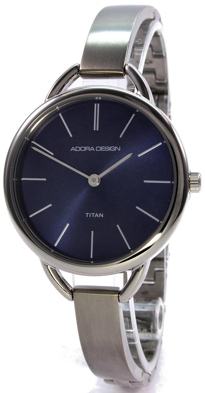 Adora Design 60177BU Runde Titan Damenuhr Blau Schmales Metallband