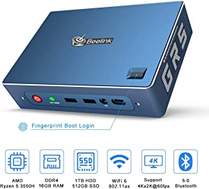 Beelink GT-R Mini PC Windows 10 Pro,AMD Ryzen 5 3550H Processor(up to 3.7 GHz) 16GB DDR4 512GB NVMe SSD+1TB HDD,Radeon Vega 8 Graphics,WiFi 6,Bluetooth 5.0,Dual Gigabit Ethernet,Gaming PC