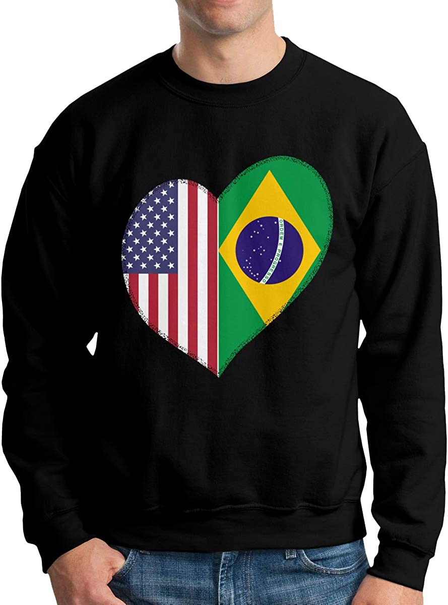 LLiYing-D Heart Brazil American Flag Adult Mens Fashion Long Sleeve Hoodie T-Shirts