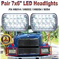 7X6 LED Lights for Mack Semi Truck CH600 CH700 CL600 Series High Low Beam Rectangular Headlamp 3200LM Bight IP68 Waterproof with H4 Connector Easy Installation, H6014 H6052 H6054 6054 Replacement, 3 Y