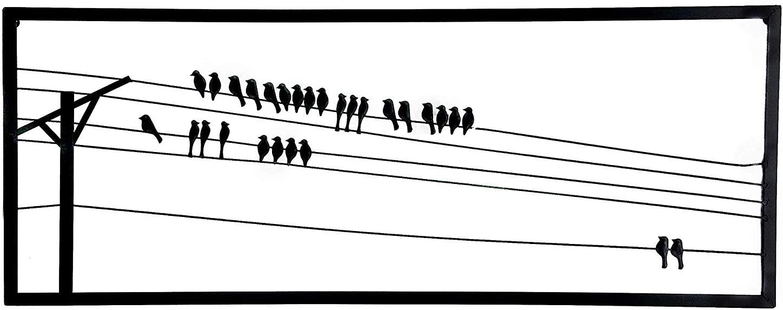 Bellaa 23219 Birds On A Wire Metal Wall Art 48 X 18 inch (Black 23219, 48 Inch)
