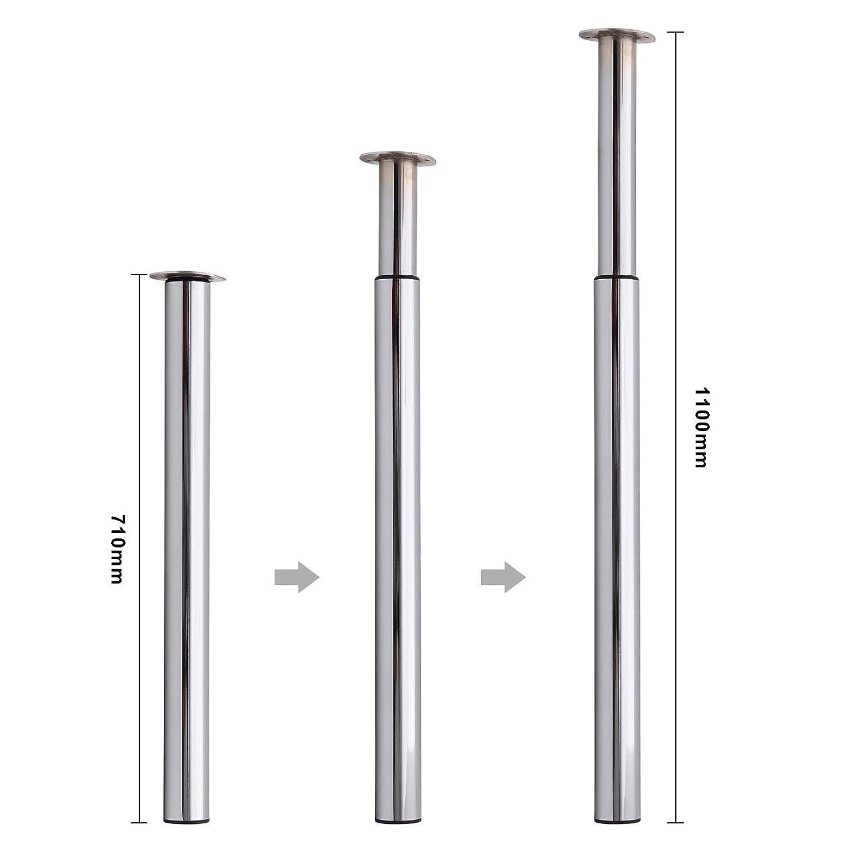 MultiWare /Ø60 mm Tischbein H/öhenverstellbar Tischfu/ß Schwarz Verstellbar Teleskopfu/ß Metall Schreibtischbein Tragkraft 50 kg