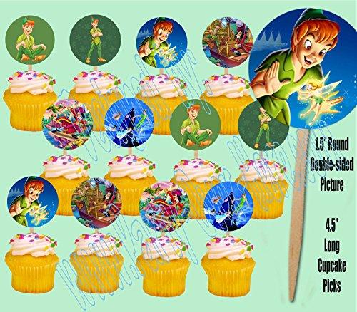 Peter Pan Tinkerbell Captain Hook Neverland Cupcake Picks Cake Toppers -12 ()