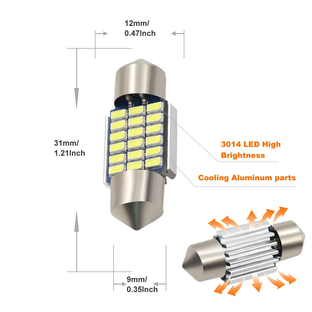 Boodled 10PCS 41mm C5w Festion LED Bulb 3014 30-SMD Chipsets Canbus Error Free C10w LED Bulbs For Auto Interior Reading Lights Car Dome Map Lights.12V White.