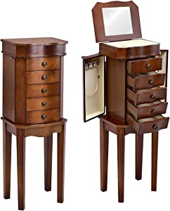 Giantex Jewelry Armoire Chest Cabinet Storage Organizer for Women Standing Wood Style 6 Hooks Swing Door Makeup Display Box Stand Up Accent Furniture Bedroom Armoires w/ 5 Drawers and Mirror