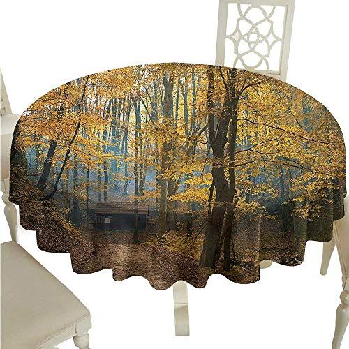 (ScottDecor Fabric Tablecloth Fall Tree,Autumn Season Woodland Printed Tablecloth Round Tablecloth D 60