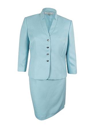 Amazon Com Tahari Asl Women S Herringbone Print Skirt Suit 18