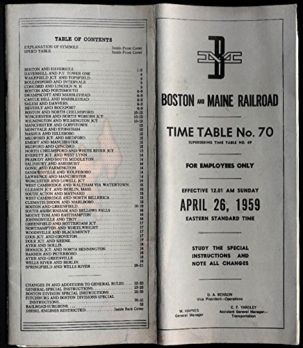 Boston & Maine Railroad employee timetable #70 4/26 1959