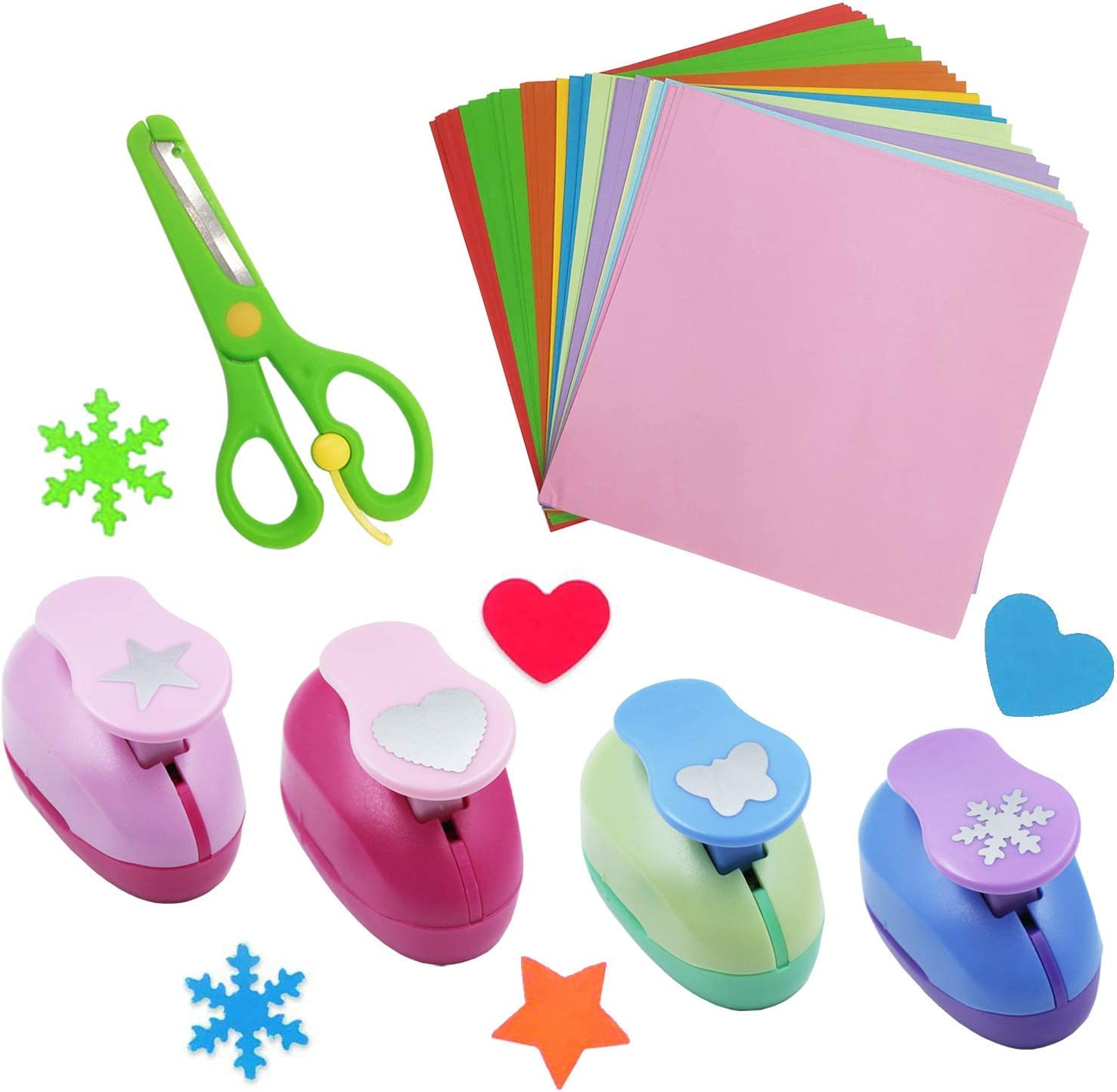 Origami Paper Set Paper Crafts Supplies with 100Pcs Sheets Square Origami 4Pcs Craft Punches 1Pc Children Training Scissor for DIY Paper Cutting and Kid/'s Craft Arts