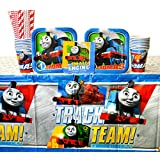 Thomas the Tank Engine Party Supplies Pack for 16 Guests: Straws, Dessert Plates, Beverage Napkins, Cups, and Table Cover