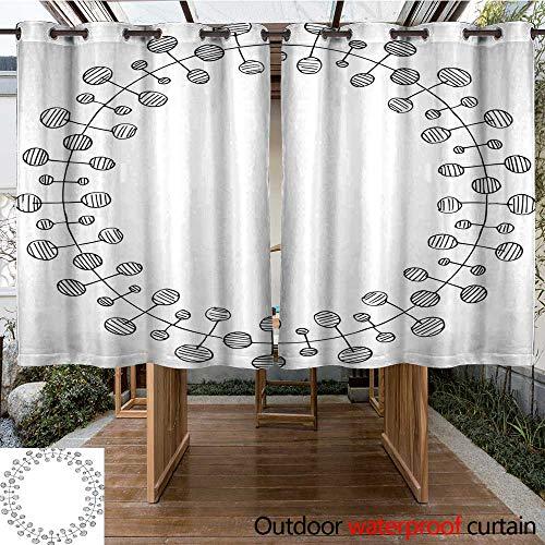 RenteriaDecor Outdoor Balcony Privacy Curtain Hand Drawn Oval Black Frame W55 x L72