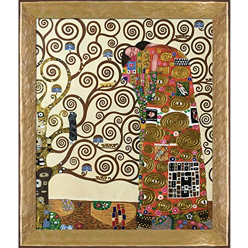 La Pastiche The Embrace Metallic Embellished Artwork By Gustav Klimt With Gold Mother Of Pearl - Of Pearl Monet Mother