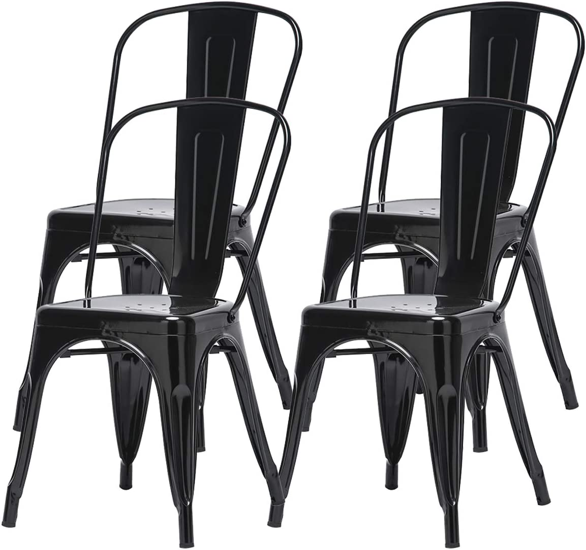 Set of 4 Tolix Black Garden Metal Chairs Stackable with Back Industrial Vintage Outdoor Set of 4 Black Metal Dining Chairs