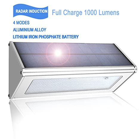 (nijiadipai) Solar luces exteriores 1000 lumens (Max) 48 LED radar sensor de