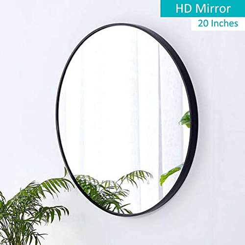 moxuan Wall Round 20 Mirror, Black Frame, for Bathroom,Bedroom, Living Room