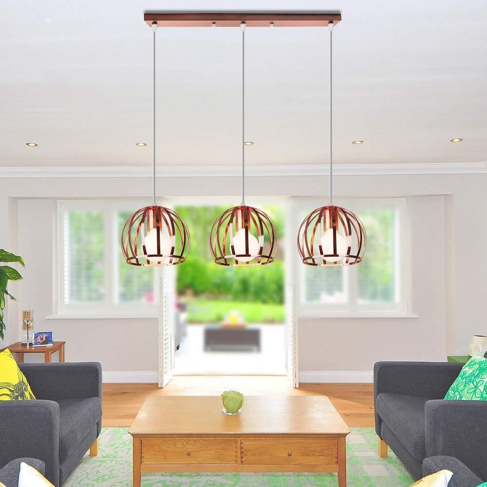 B  Vintage métal suspendu lumière Rose or boule abat-jour lampe suspendue moderne E27 suspension créative lampe pendentife décorative pour salle à hommeger salon restaurant Ø19CM,B