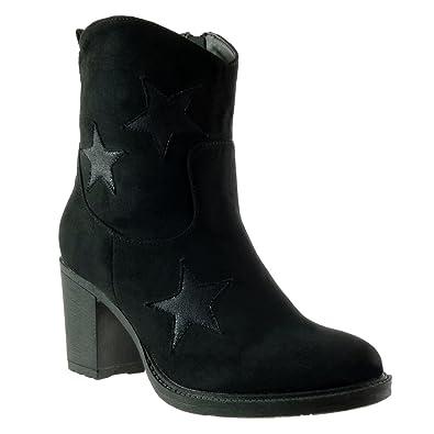Angkorly - Chaussure Mode Bottine santiags - cowboy femme etoile Talon haut bloc 7.5 CM - Intérieur Fourrée - Noir - WD1750 T 41 FJpwYj
