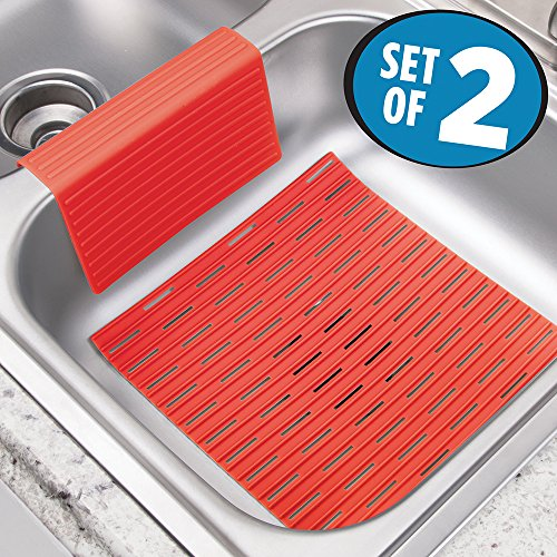 mdesign-silicone-kitchen-sink-protector-mat-and-divider-set-of-2-red