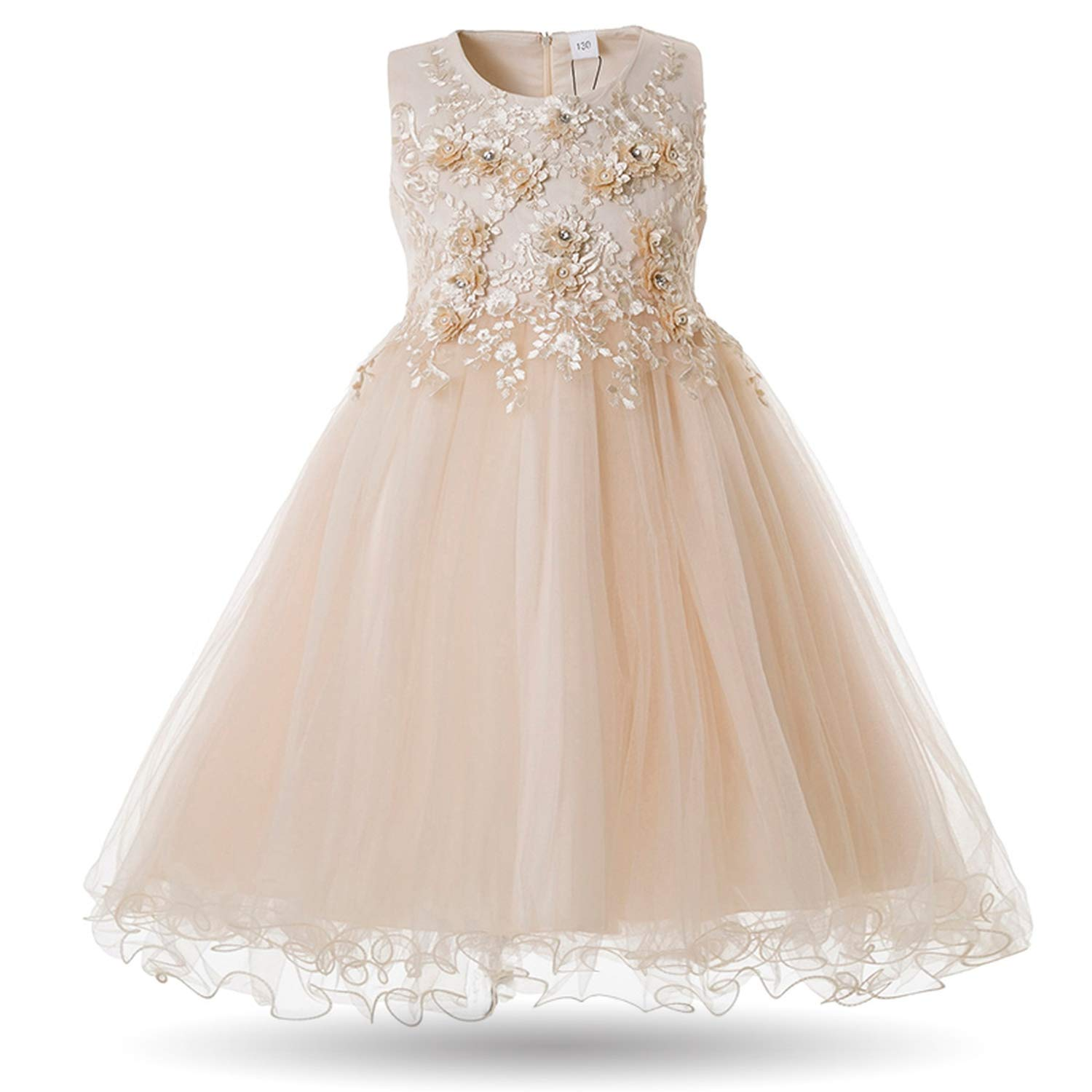 Nice Warm Flower Girls Dress Wedding Party Dresses for Kids Pearls Formal Ball Gown Evening Baby Outfits Tulle Girl Frocks,Yellow,9