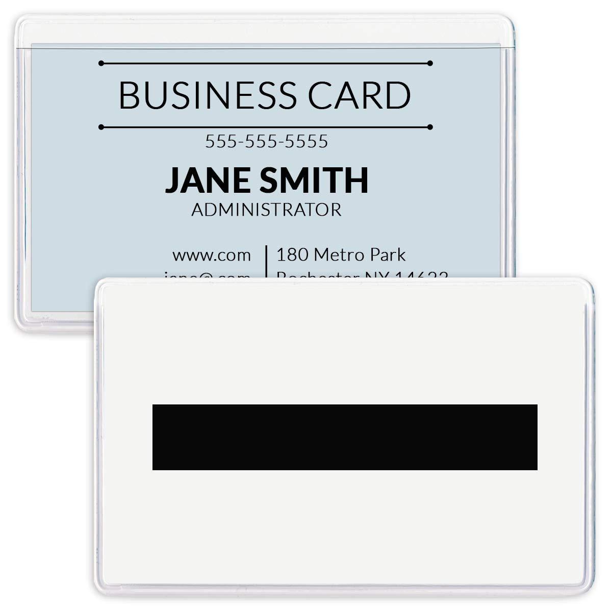 StoreSMART - Magnetic Business Card Holder - 2'' x 3 1/4'' - Vinyl Plastic - Open Long-White Back - 100 Pack - PE222MLW-100
