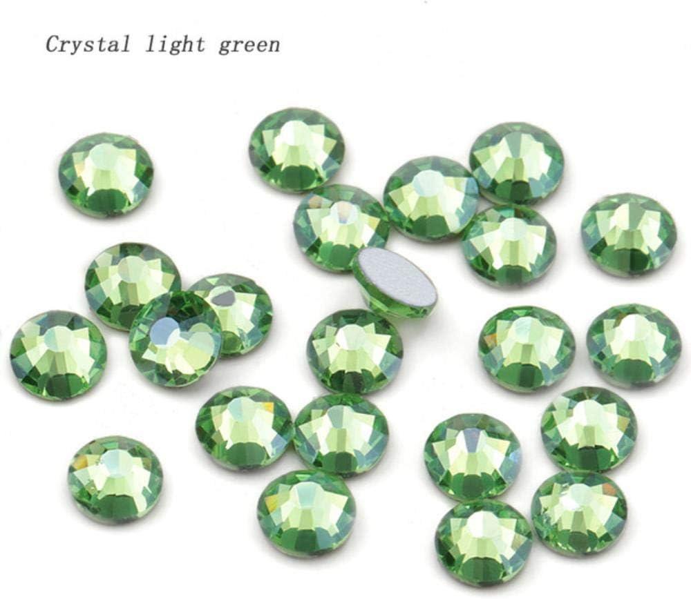 PENVEAT Nueva Crystal Color Series Flat Back Sin Diamantes de imitación para DIY Apparel Decoration Rhinestone Nail Deco Pegamento en Piedra, Cristal Verde Claro, SS16-1440pcs