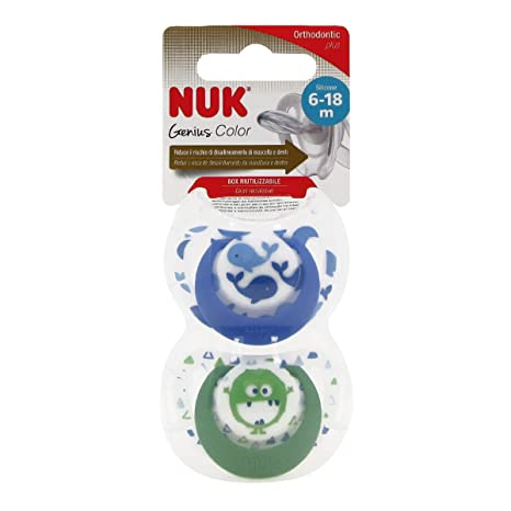 Nuk Genius Color Chupete Silicona 6-18 Meses X2: Amazon.es: Belleza