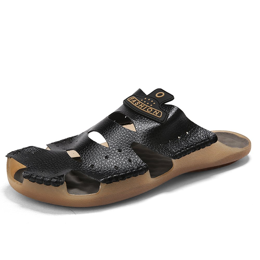 aLins Mens Leather Sandals Outdoor Sports Casual Slides Closed Toe Non-Slip Summer Beach Shoes(Black 13 D(M) US)