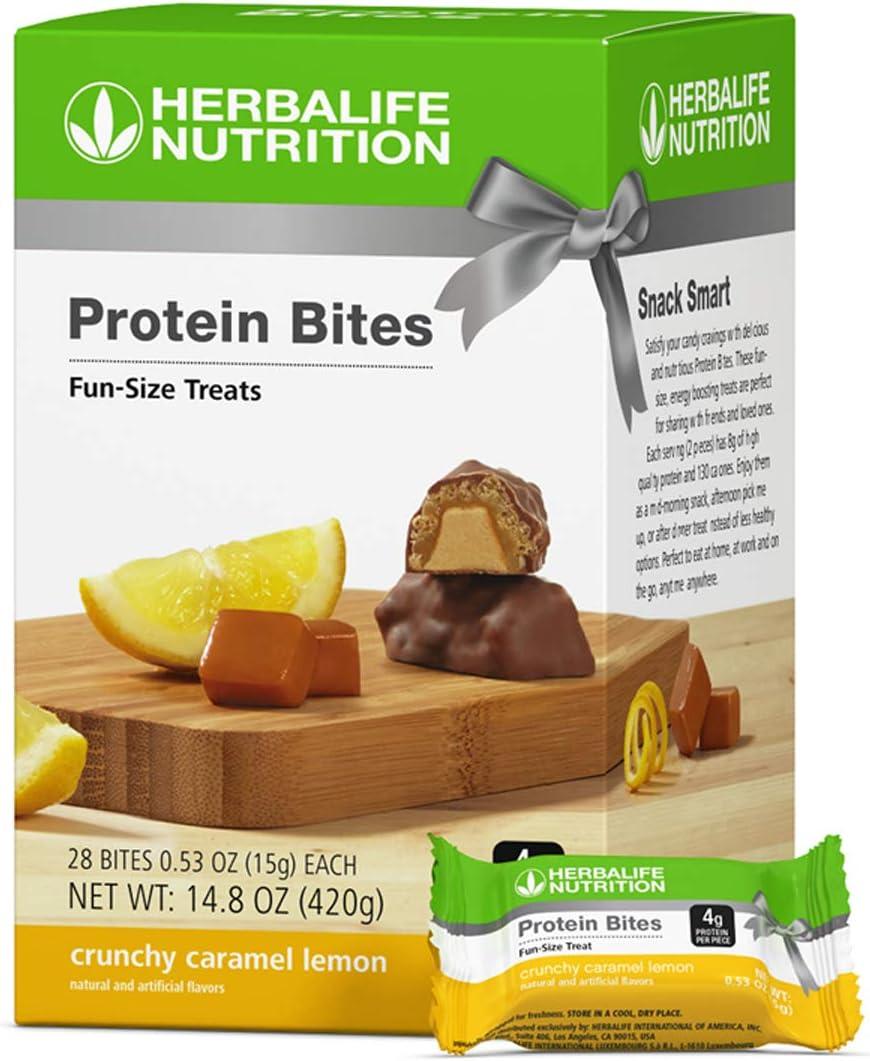 Protein Snack Bites 28 per Box Crunchy Caramel Lemon Flavor for Energy & Nutrition