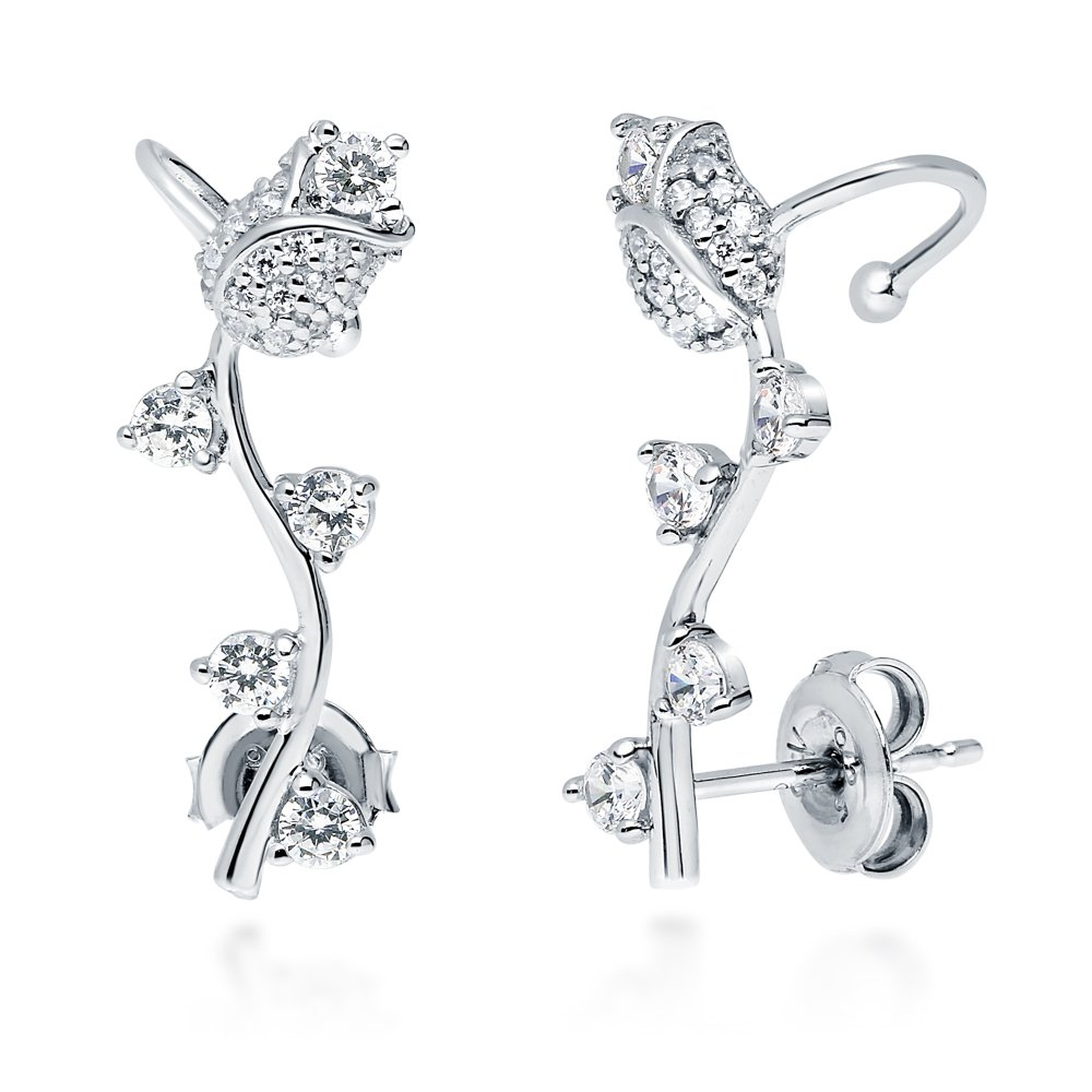 BERRICLE Rhodium Plated Sterling Silver Cubic Zirconia CZ Flower Tulip Fashion Ear Cuffs