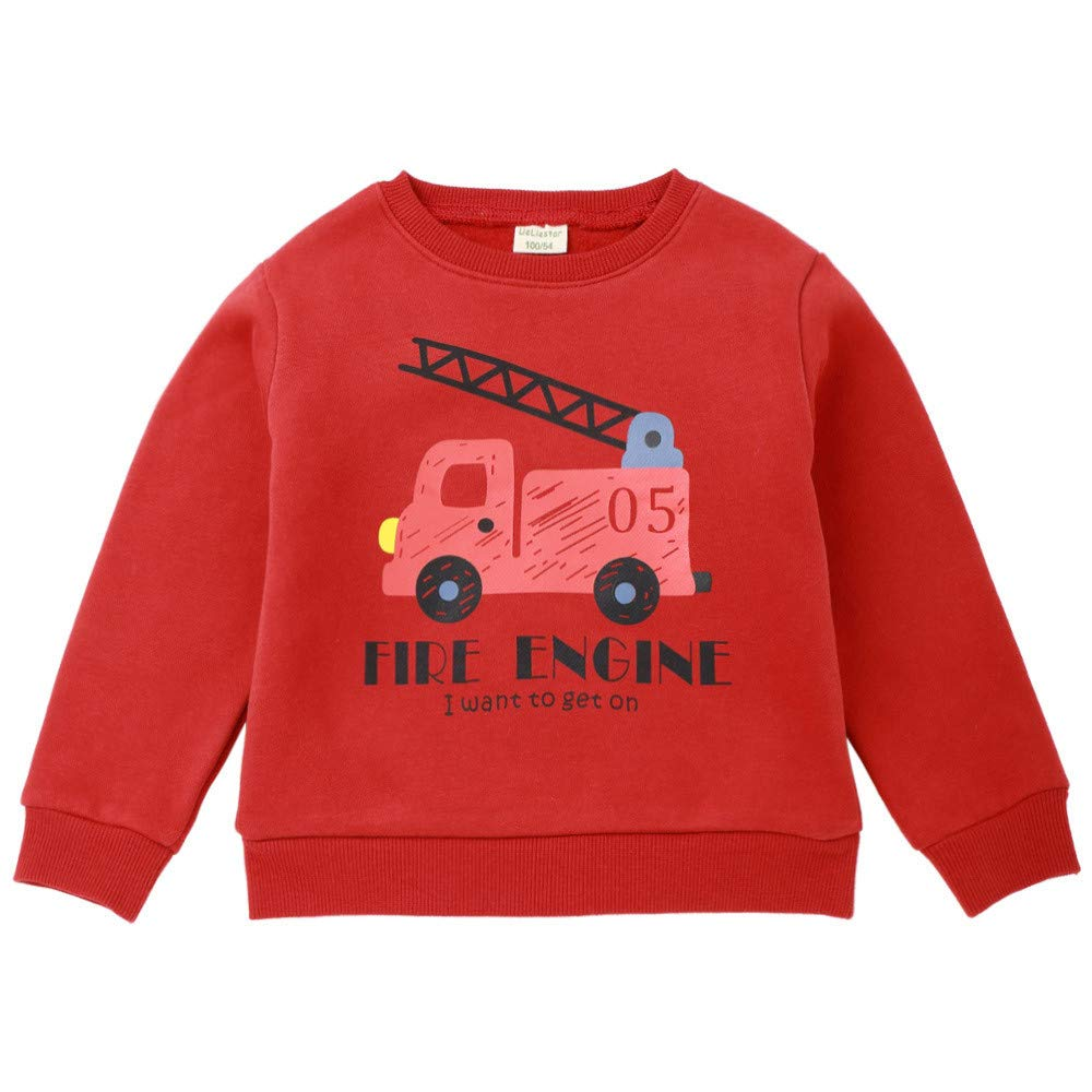 Zerototens Kids Sweatshirt,1-6 Years Old Toddler Kids Girls Boys Long Sleeve O Neck Cartoon Car Letter Print Casual Pullover T-Shirt O Neck Blouse Shirt Children Casual Outfit Clothes