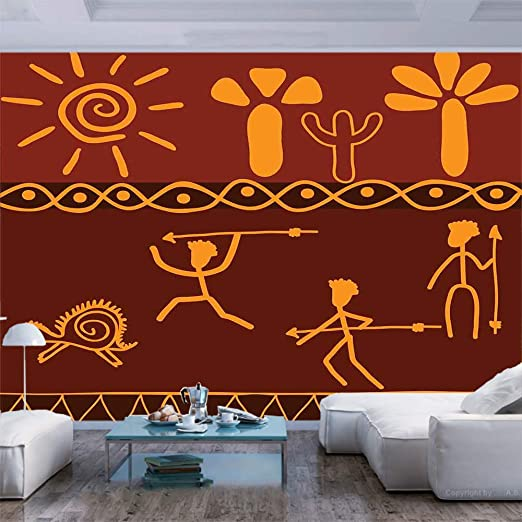Amazon Com 77x30 Inches Wall Mural African Tribe Hunting Scene Wild Animal Casual Old Days Artistic Ethnic Pattern Peel And Stick Self Adhesive Wallpaper Removable Large Wall Sticker Wall Decor For Home Office Home