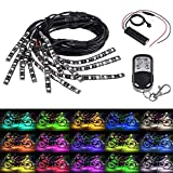 Justech 12pcs Motorcycle Multi-color/15 Colors RGB 126LED Neon Flexible Light Strip Kit Wireless Remote with 8pcs 90cm Extension Cable Wire