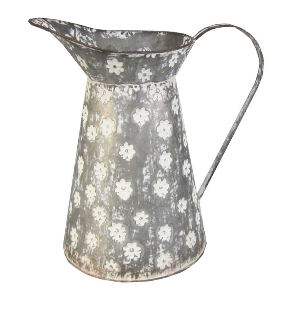 Tall Galvanized Watering Can Rustic White Floral Vase Grey Metal Farmhouse Centerpiece Country Kitchen Tabletop Display