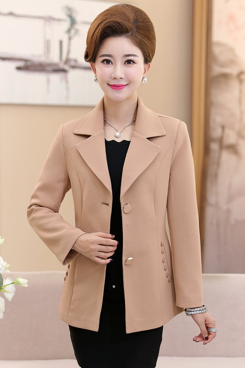 Amazon.com : Middle-aged women's autumn jacket mother dress shirt Slim was  thin large size middle-aged women short paragraph small suit for women girl  : ...