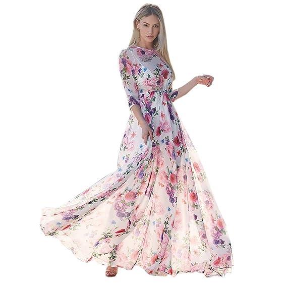 Damen Abendkleider Maxikleid Bodenlang Party Hochzeit Kleider Cocktailkleid DE