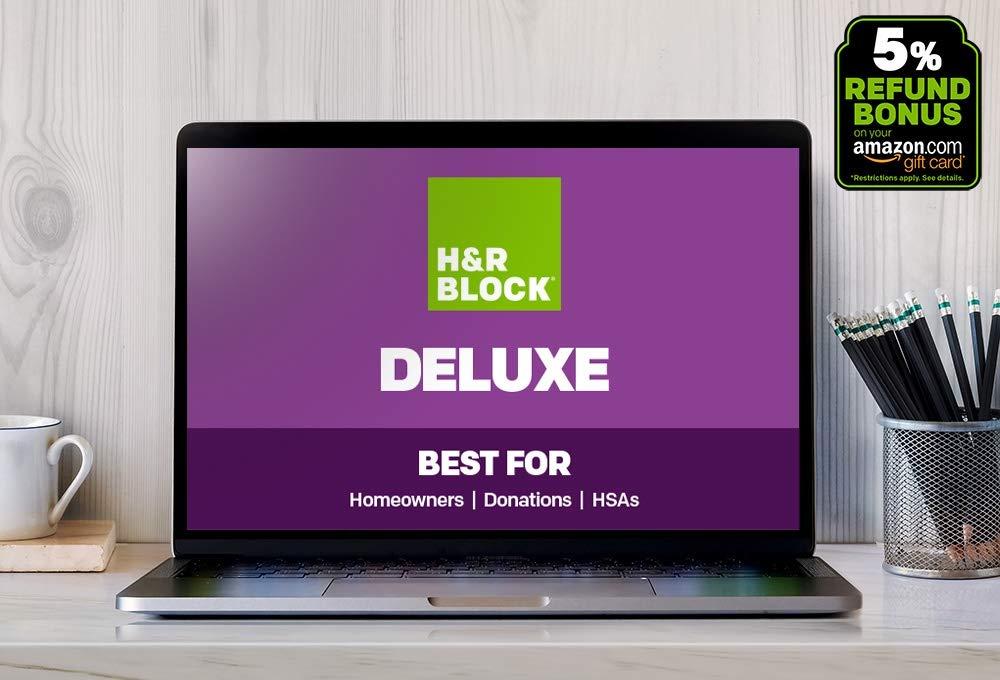 H&R Block Tax Online 2018, Deluxe + 5% Refund Bonus [Buy on Amazon, file online with HR Block] by H&R Block
