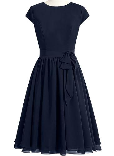 JudyBridal Women Knee-Length Chiffon Bridesmaid Dresses with Cap Sleeves