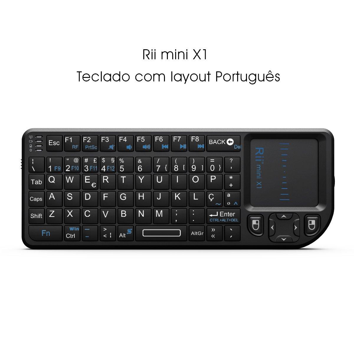 Teclado Wireless Rii Mini X com touchpad compatível com SmartTV Android Mini