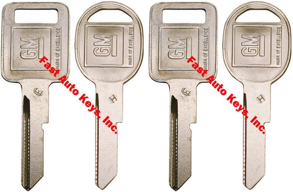 "4 NEW Gm Logo, OEM ""E"" Ignition +""H"" Doors/trunk Key Blanks Uncut 2x 320404 2x 320405"