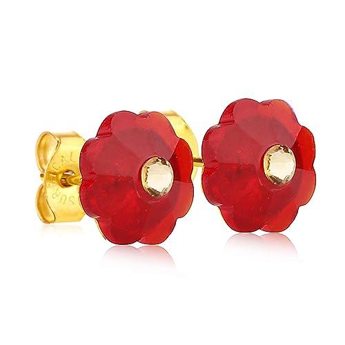 e364b8b0e 24K Gold Coated Stud Earrings with 10mm Red Swarovski Crystal Flowers
