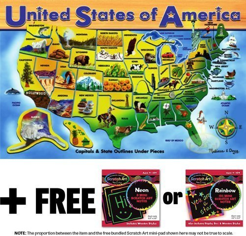 Deluxe Wooden USA Map Puzzle 'Map of the United States' 500-Piece Cardboard Jigsaw Puzzle + FREE Melissa & Doug Scratch Art Mini-Pad Bundle [37976]