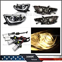 For 11-13 Toyota Highlander Led Bar Projector Headlights Black+Yellow 55W Ac Hid
