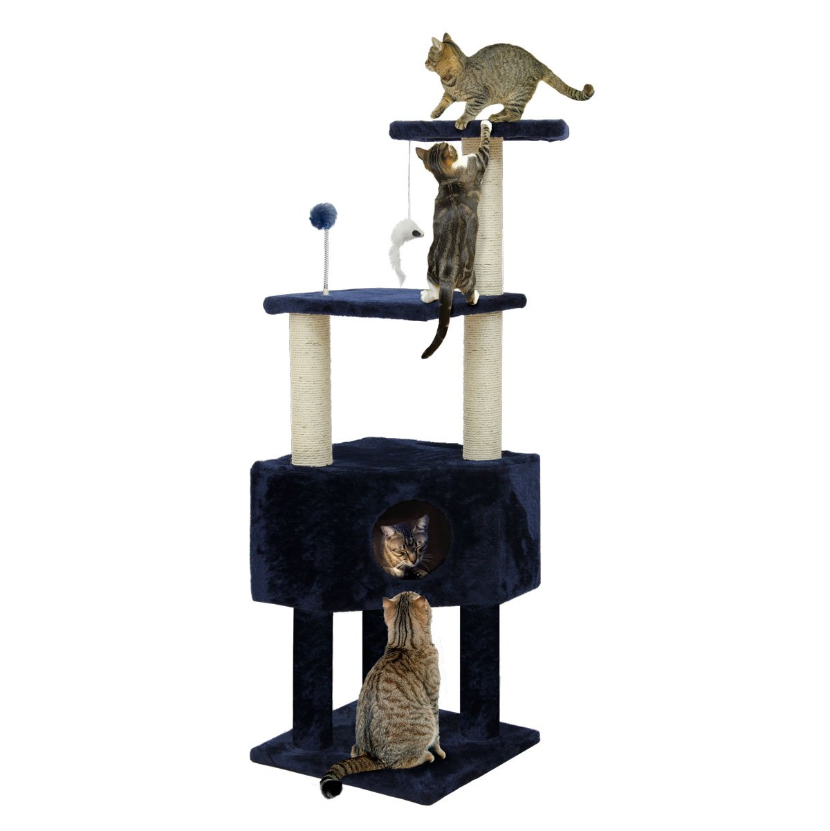Furhaven Tiger Tough Cat Tree House Furniture for Cats and Kittens, Clubhouse Playground, Blue
