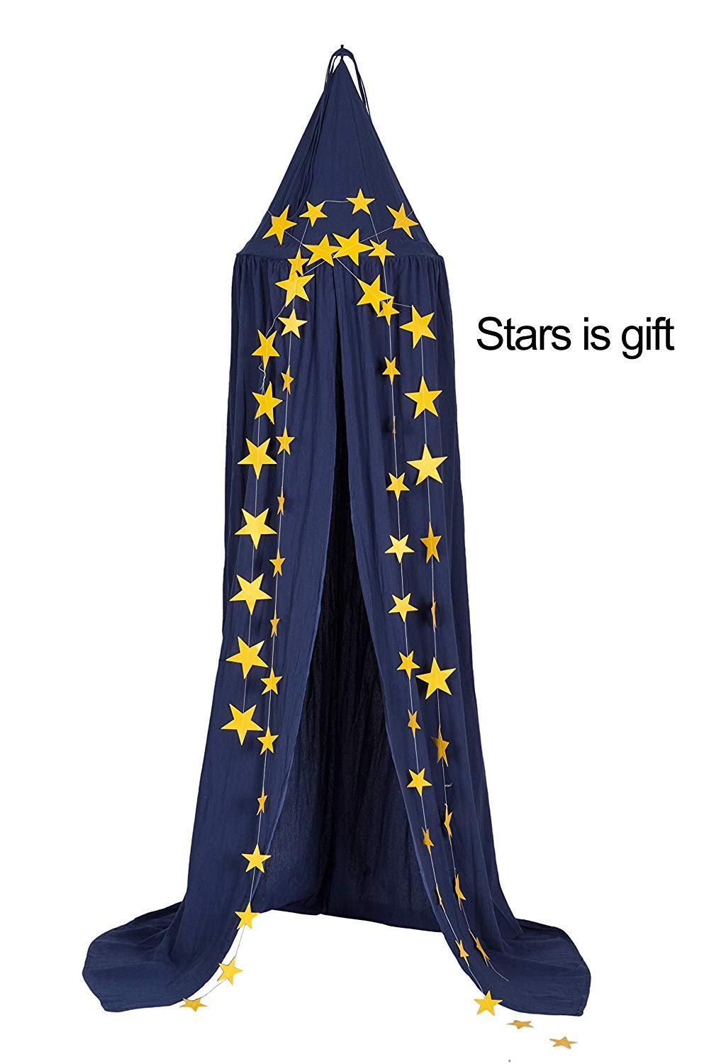 Dix-Rainbow Princess Bed Canopy Mosquito Net for Kids Baby Bed, Round Dome Kids Indoor Outdoor Castle Play Tent Hanging House Decoration Reading Nook Cotton Midnight Blue