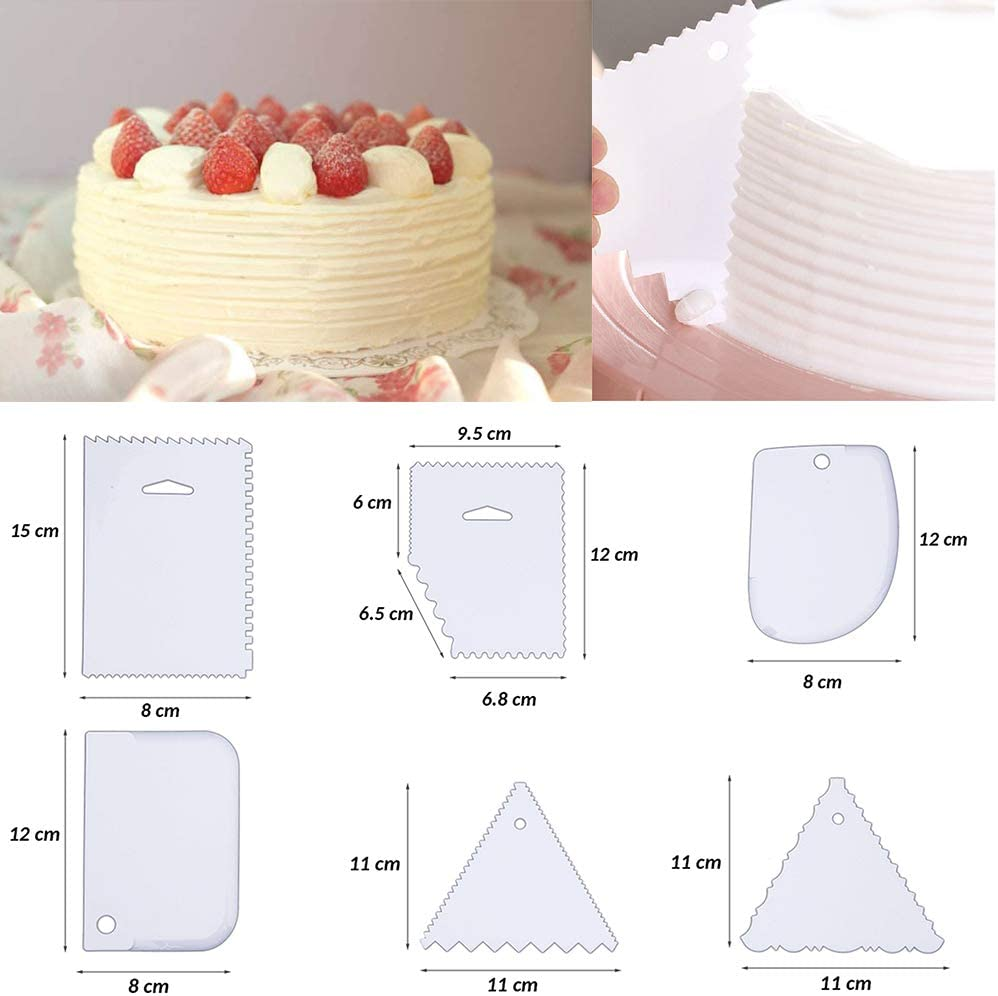 Kuchen Dekorationszubeh/ör bestehend aus 4 Winkelpalette Tortenmesser 6 Kuchenschabern f/ür Vereisung Gl/ätten und 9 Fondant Sugarcraft-Modellierwerkzeugen 1 Tortenheber